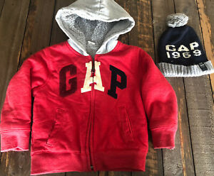 GAP Boys Warm Hoodie Zip Up Sweater With GAP Beanie Red Blue