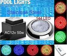 NEW* 144 LED POOL STAINLESS STEEL LIGHT RGB 7 COLOR R/C PLUS POOL TRANSFORMER