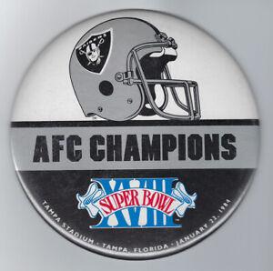 "1984 Oakland Raiders Super Bowl XVIII button HUGE 6"" AFC Champs Marcus Allen MVP"
