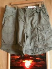Columbia PFG men's size L green cargo shorts shell- nylon solid zip fly flat bac