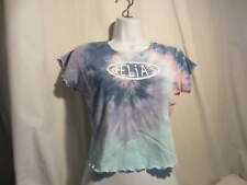DELIA'S DOLLS KILL tie dye blue pink shirt short sleeve crop top L