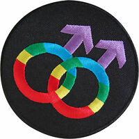 Gay Pride Rainbow Embroidered Iron Sew On Patch Male Sex Mars Symbol Sign Badge