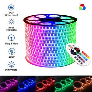 RGB LED Strip 220V 240V 5050 60/120 LED/M IP67 Waterproof RGB LED Strip UK Plug