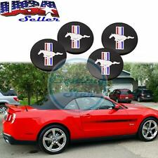 "2.2"" Running Horse Tri-Bar Wheel Center Cap Covers Black Emblem For Ford Mustang"