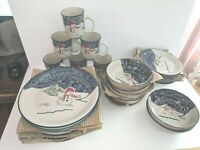 THOMSON POTTERY 24 PIECE SNOWMAN DINNERWARE SET SERVICE FOR 6 never used