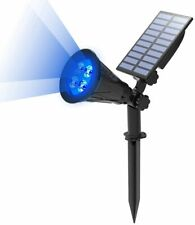 *Blue Color*Solar Spotlights Outdoor LED Garden Lawn Landscape Path Wall Lamp US