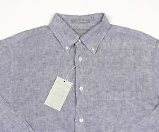Men's DANIEL CREMIEUX Deep Blue Linen Shirt M Medium NWT NEW $95+
