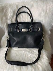 Michael Kors Satchel Bag Black Whipped Hamilton Leather Large Handbag