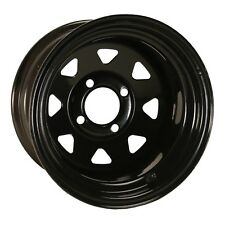 Set of 4 Golf Cart 12x7 Spoked Black Glossy Wheel with Stem (2:5 Offset)