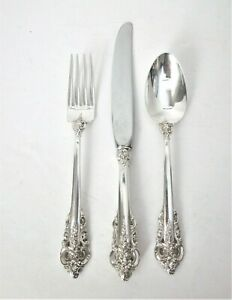 Vintage Wallace Grand Baroque Sterling Silver Child's Fork, Knife, and Spoon Set