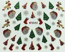 Nail Art 3D Decal Stickers Christmas Tree Santa Rudolph Reindeer Stockings E042