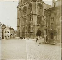 Il Mans Cattedrale Francia Placca Da Lente Stereo Positivo Vintage 1907