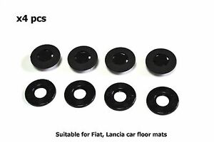 Carmats BLACK Fixation Clips for Fiat Lancia Floor Mat Fasteners Holder 4pcs