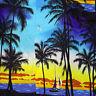 Royal Creations Shirt Large Hawaiian Aloha Sunset Palm Trees Sailboat Beach