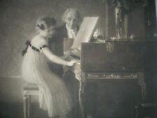 Immense et très jolie Gravure - La Leçon de Piano - Milieu XIX èS - 74 cm x 61cm