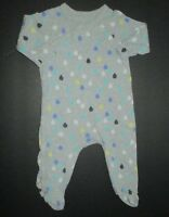 INFANT BOYS GIRLS BABY GAP GRAY BLUE GREEN RAINDROP FOOTIE OUTFIT SIZE 3-6 MONTH