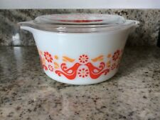 Vintage Pyrex Friendship 473 Covered Casserole Dish With Painted Lid 1 Quart