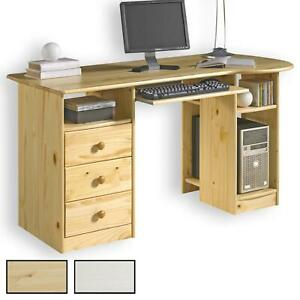 Schreibtisch Computertisch PC-Schreibtisch, Kiefer massiv mit 3 Schubladen