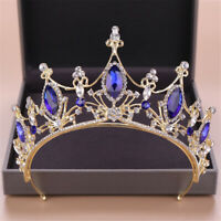 7.5cm Adult Blue Silver Crystal Wedding Bridal Party Pageant Prom Tiara Crown
