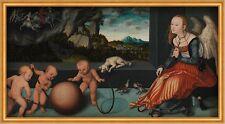 Melancholy Lucas Cranach der Ältere Engel Kinder Babys Hund Kugel B A1 02808