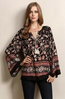 Womens Boho floral Printed top blouse Peasant Tunic long sleeves small NEW
