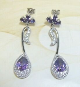 925 Sterling Silver White Topaz Amethyst Dangle Earrings, Platinum Embraced
