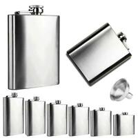 6 Size Stainless Steel Pocket Hip Flask Alcohol Whiskey Liquor Screw Cap+Funnel