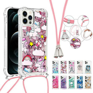 Case For iPhone 12 Pro Max 11 XR X XS Cartoon pattern Silicone Hanging neck