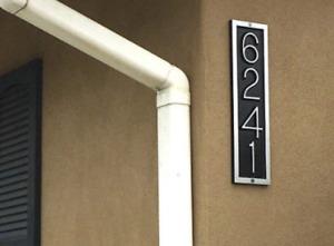 "Address Plaque: Aluminum Vertical Rectangle House Number Sign 16""X 1/2""X 4 1/4"""