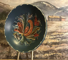Bowl  Hand-painted Norwegian Rosemaling Vintage Handmade Traditional Folk