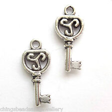 30 Tibetan Silver 27x10mm Key Charms Jewellery Making
