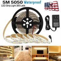 RGB 5M 16.4ft Waterproof 5050 SMD 300 LED Flexible Light Strip 12V+ Adapter