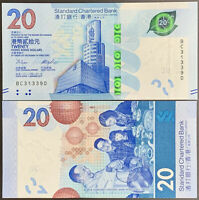 HONG KONG 20 DOLLARS 2018 / 2020 P NEW DESIGN SCB UNC