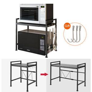 2 Tiers Microwave Oven Rack Shelf Extendable Kitchen Organizer Storage Black