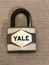 Vintage YALE Silver Toned Metal Padlock Lock MISSING KEY Made in the USA