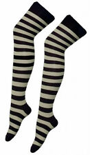 Ladies Over The Knee Fancy Dress Party Stripey Striped Socks Variety Colours Sox Grey and Black