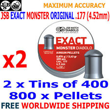 JSB EXACT MONSTER ORIGINAL .177 4.52mm Airgun Pellets 2(tins)x400pcs
