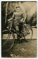 Boy & Bicycle Vintage Photo Postcard
