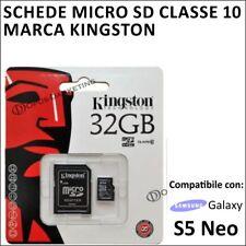 SCHEDA MEMORIA MICRO SD kingston 32GB CLASSE 10 PER SAMSUNG GALAXY S5 NEO G903