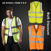 Mens Yellow or Orange HIGH VISIBILITY Vest Safety Waistcoat Hi Vis / Viz Jacket