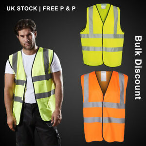 Mens Yellow or Orange HIGH VISIBILITY Vest Safety Waistcoat Hi Vis / Viz Jacket