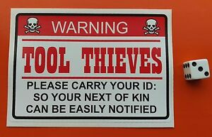 Tool Box Sticker Thieves Warning  sticker decal toolbox funny  LAMINATED