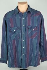 Vintage Dakota Five Brother Mens XL Heavyweight Twill Pearl Snap Western Shirt