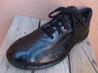 ECCO Mens Casual Dress Sport Shoes Soft Black Leather Comfortable Lace Up Size 9