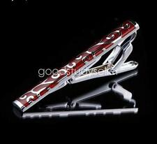Classic Mens Wine Red Enamel Stainless Steel Tie Bar Clip Clasp