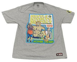 John Cena WWE Wrestling Hustle Loyalty Respect Never Give Up Shirt (Large)