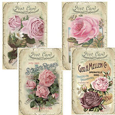 VinTaGe IMaGe ViCToRiaN RoSe PosTcaRd LaBeLs ShaBby WaTerSLiDe DeCALs