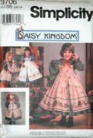Simplicity Pattern 9706 D Kingdom Dress Pinafore Bow Ribbon Doll Clothes SZ 5-8