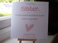 Modern Handemade Personalised Sister Birthday Card 'Beautiful Sisters Quote'
