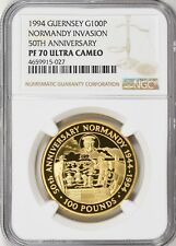 Guernsey 1994 Gold 100 Pounds Normandy Invasion Anniversary NGC PF70 UCAM